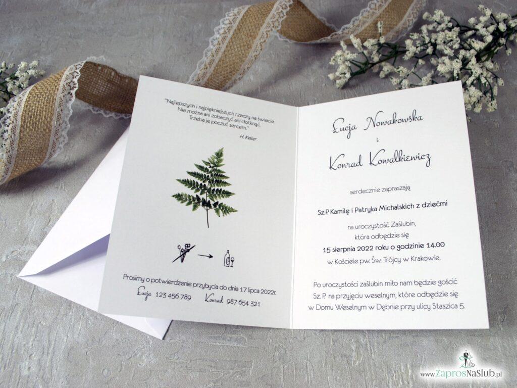 Zaproszenia ślubne botaniczne z paprocią ZAP-136