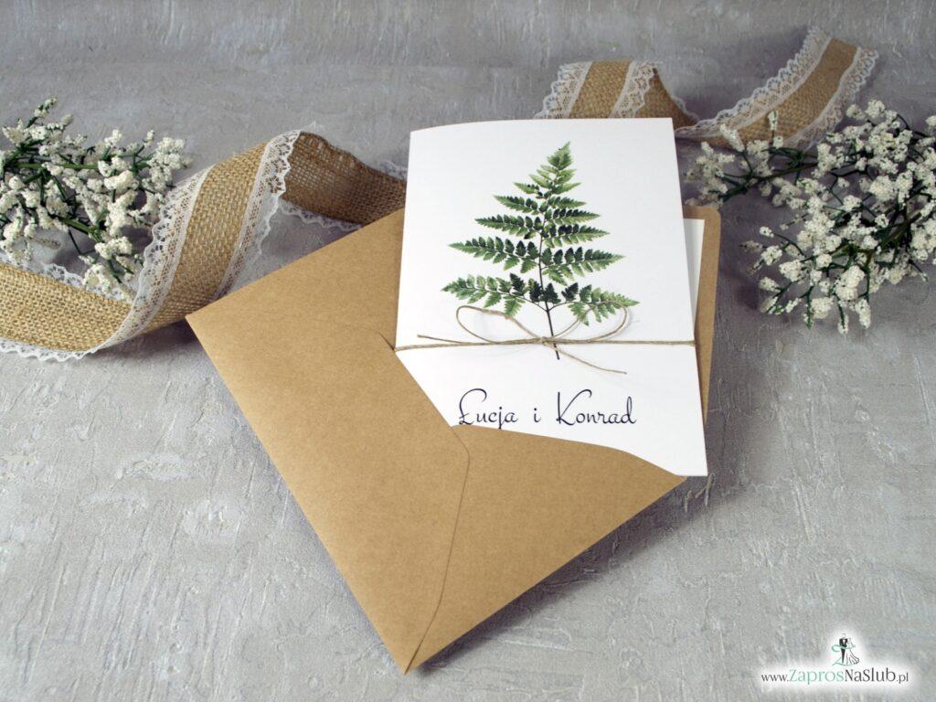 Zaproszenia ślubne paproć botaniczne ZAP-136