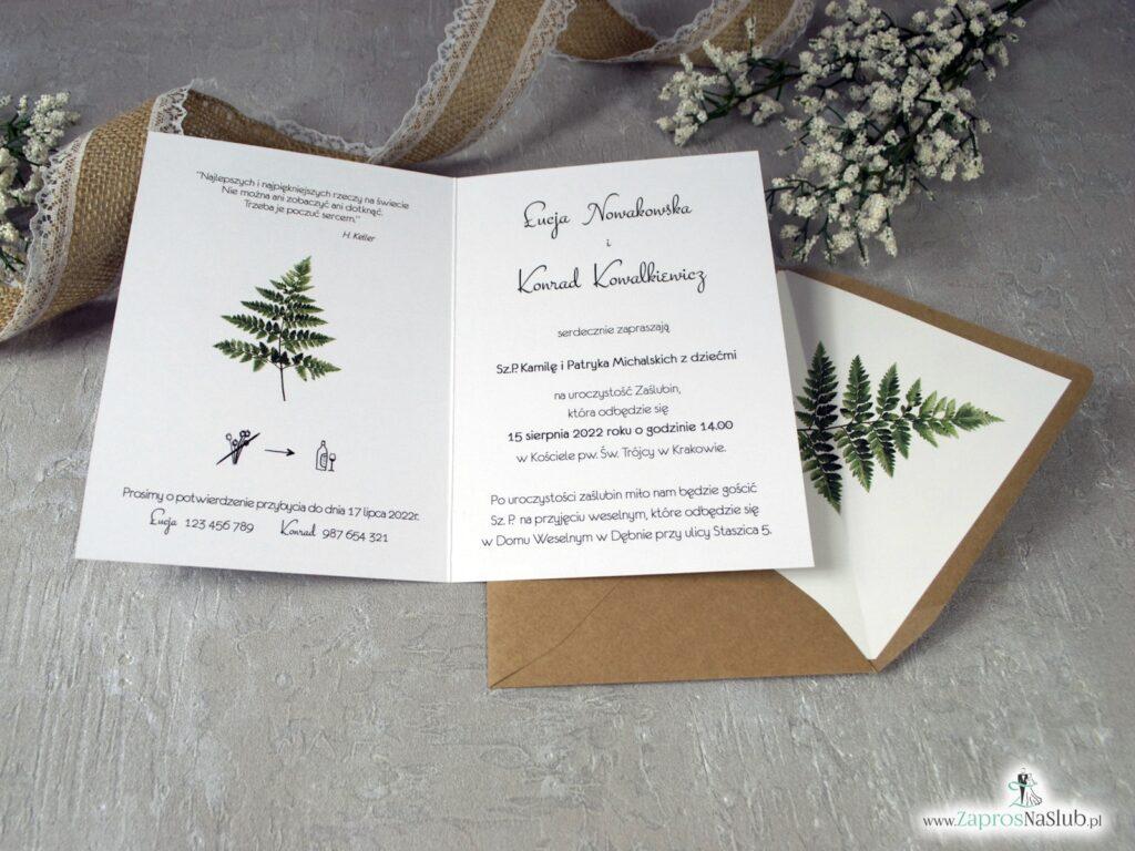Zaproszenia ślubne z liściem paproci ZAP-136