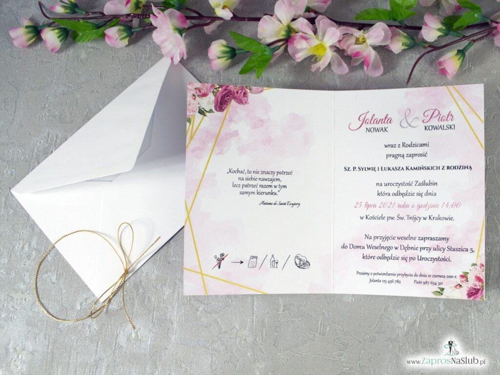 Zaproszenia z różowymi kwiatami i liniami ZAP-131