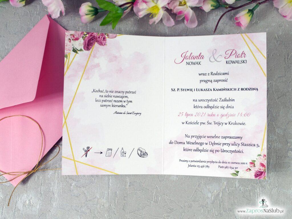 Zaproszenie na ślub geometryczne złote linie, różowe kwiaty ZAP-131