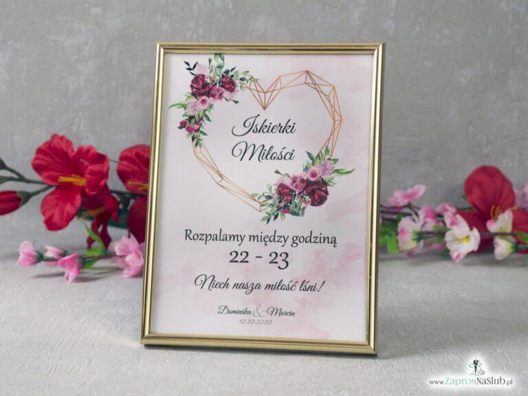 Iskierki miłości informacja o godzinie w ramce z kwiatami piwonii i geometrycznym sercem IMIR-41-08 - ZaprosNaSlub