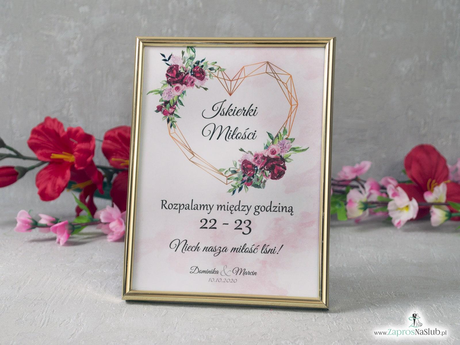 Iskierki miłości informacja o godzinie w ramce z kwiatami piwonii i geometrycznym sercem IMIR-41-08