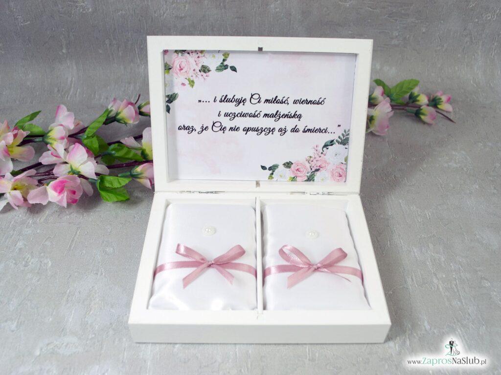Białe drewniane pudełko na obrączki z białymi i różowymi kwiatami PNO-41-12