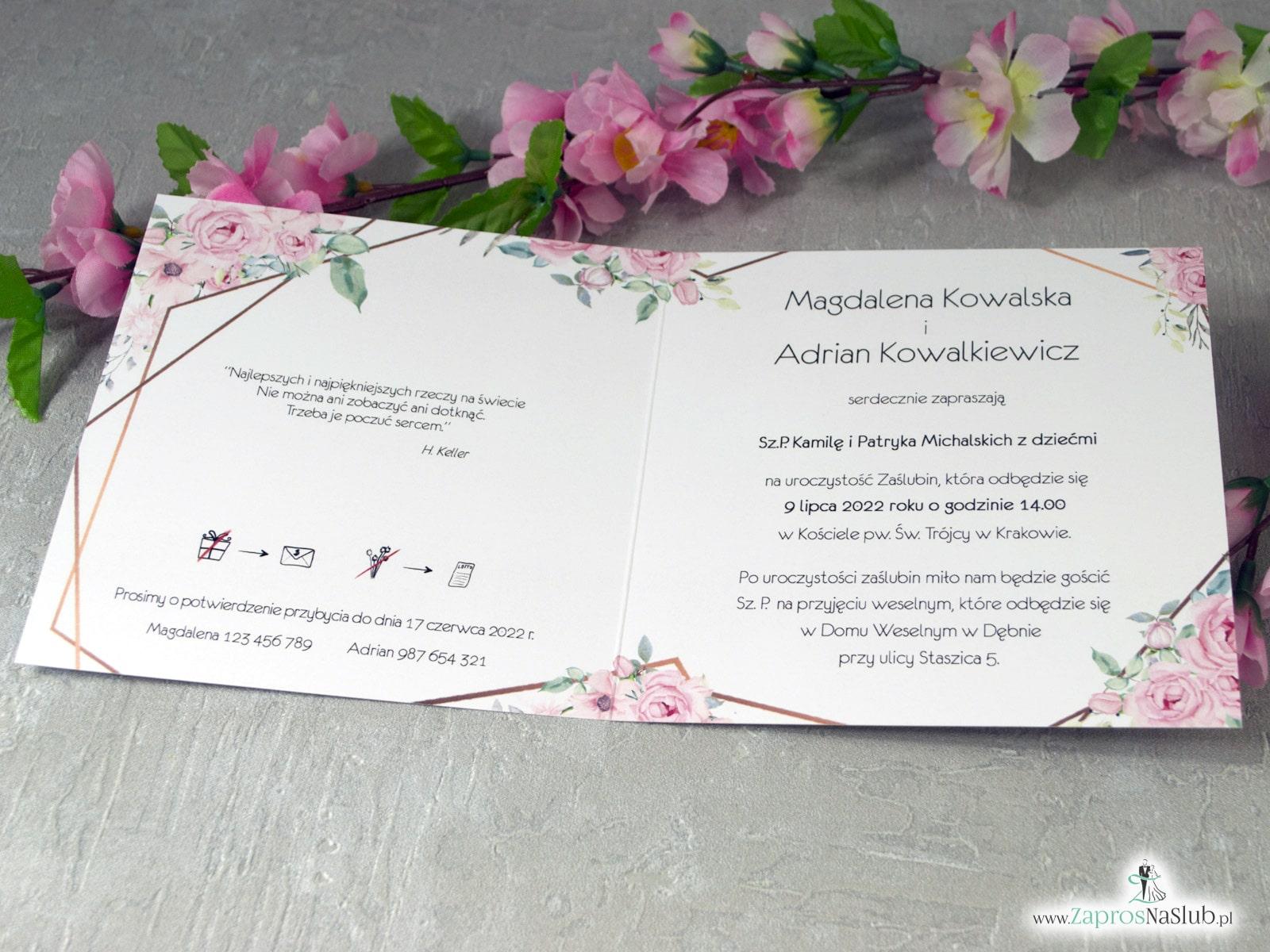 Zaproszenia ślubne z geometrycznymi liniami i różowymi kwiatami. ZAP-132