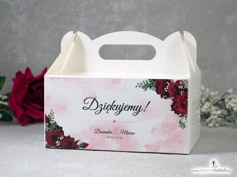 Podziękowanie dla gości z różami, pudełko na ciasto PNC-41-09