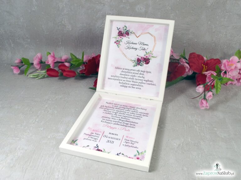 Prośba o błogosławieństwo rodziców w drewnianym pudełeczku z kwiatami piwonii POB-41-08 - ZaprosNaSlub