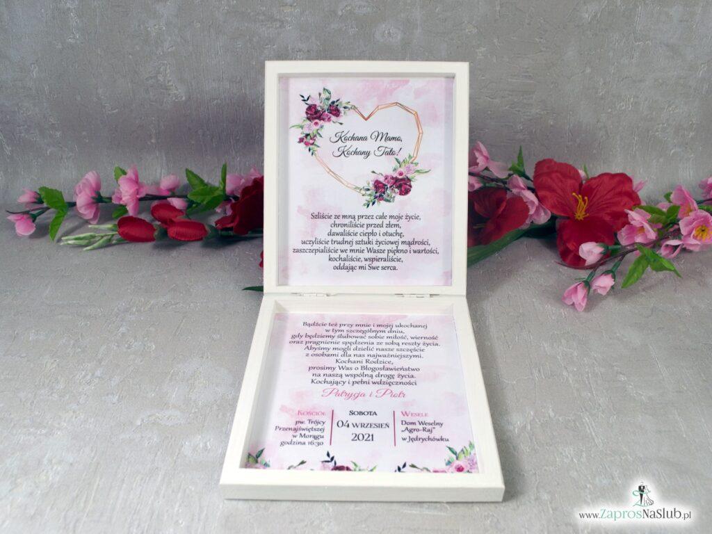Prośba o błogosławieństwo rodziców z piwoniami w drewnianym pudełeczku POB-41-08
