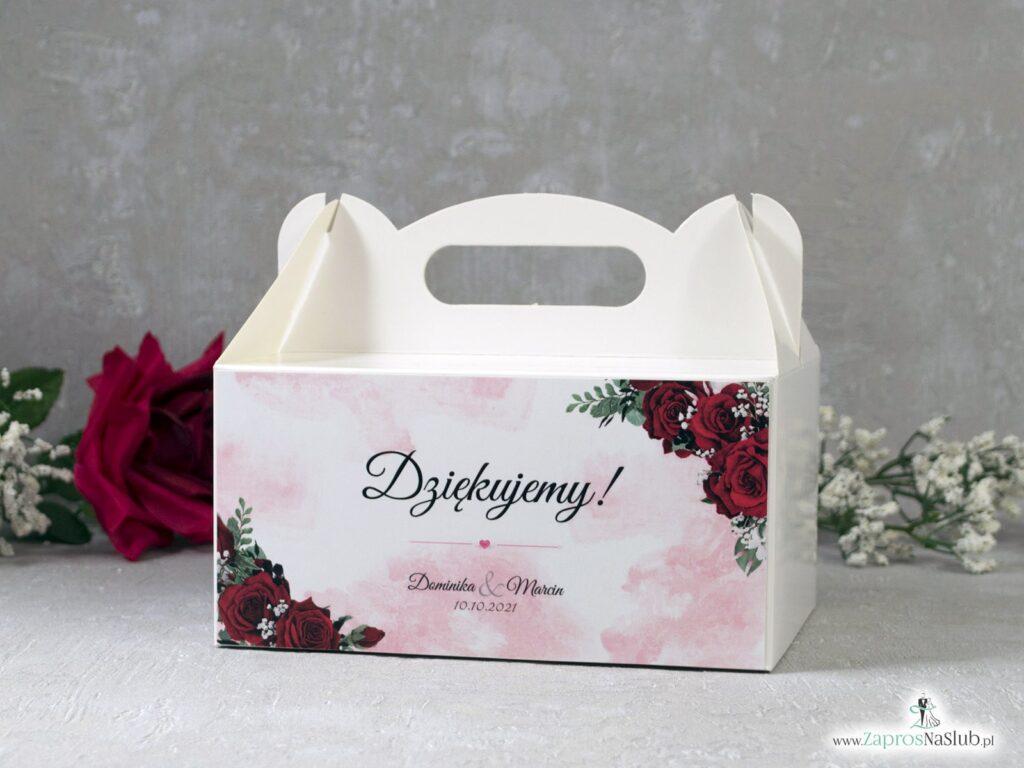 Pudełko na ciasto dla gości z kwiatami róży PNC-41-09