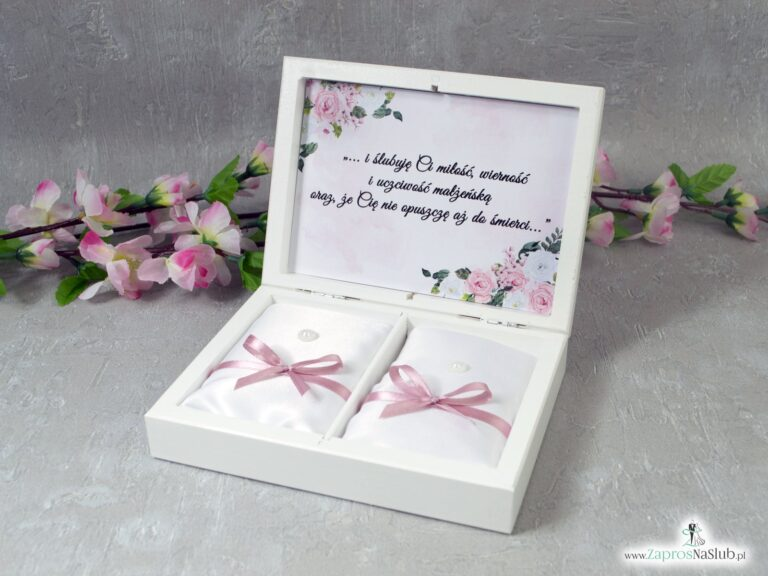 Drewniane pudełko na obrączki, szkatułka z białymi i różowymi kwiatami PNO-41-12