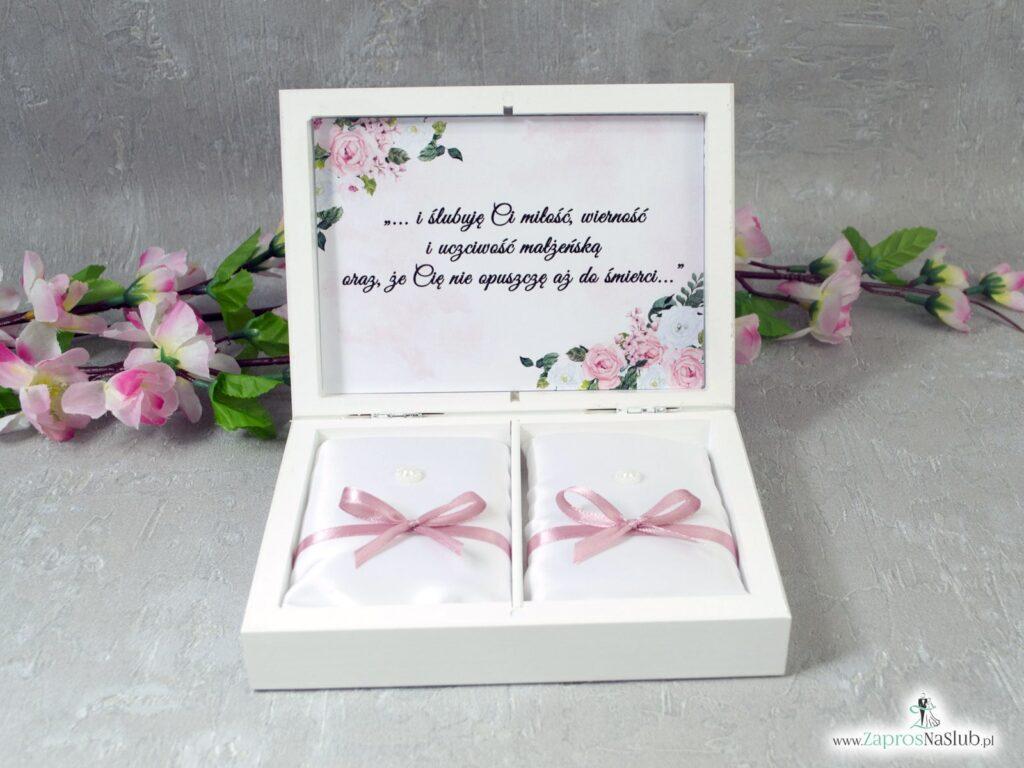 Pudełko na obrączki z geometrycznym sercem oraz białymi i różowymi kwiatami PNO-41-12