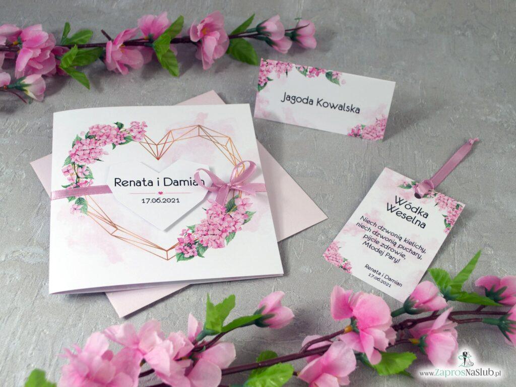 Różowe hortensje ślub, zaproszenie, winietki, zawieszki na wódkę ZAP-41-25