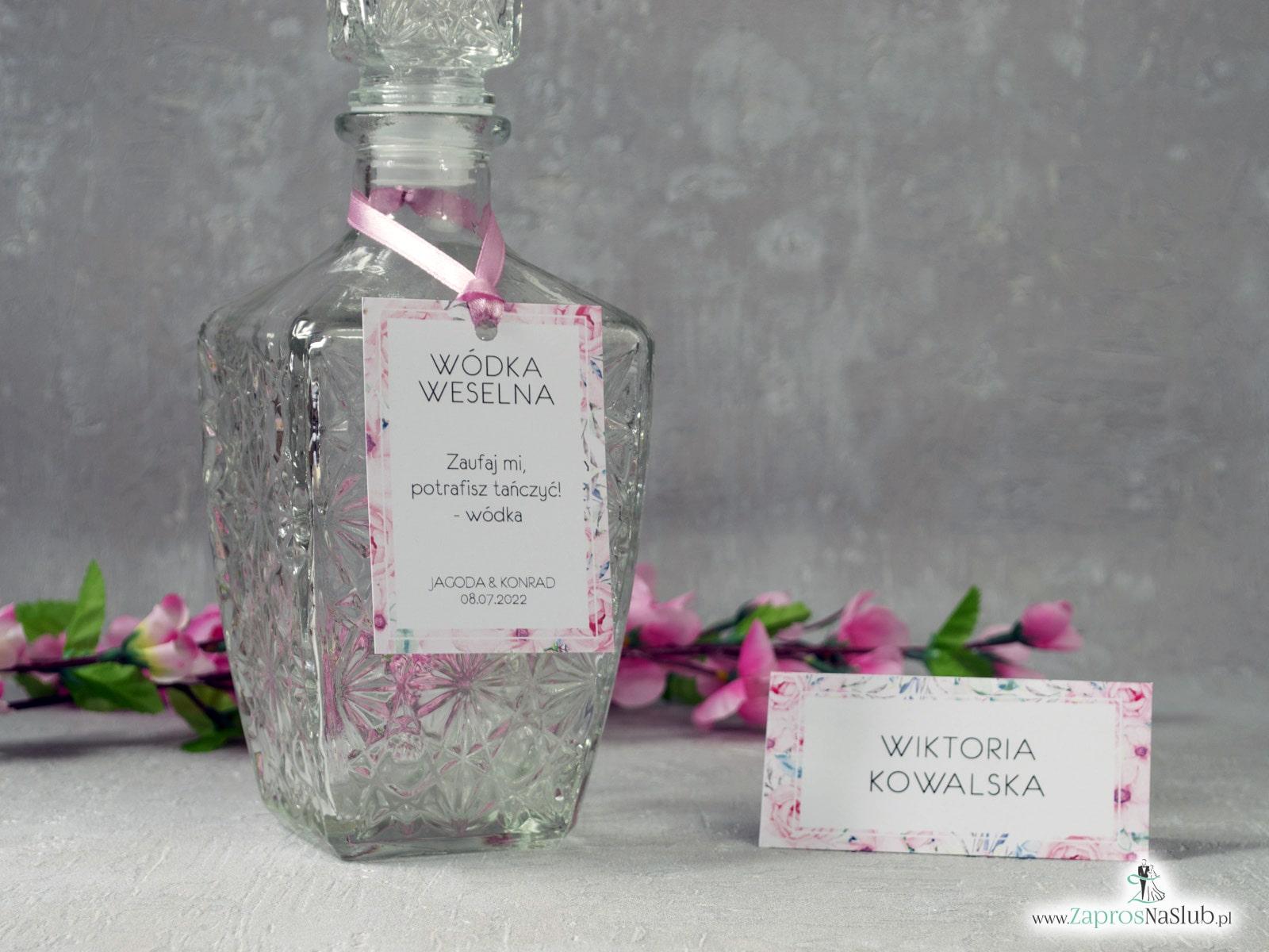 Zawieszka na alkohol z kwiatową ramką z różowych róż ZAW-117