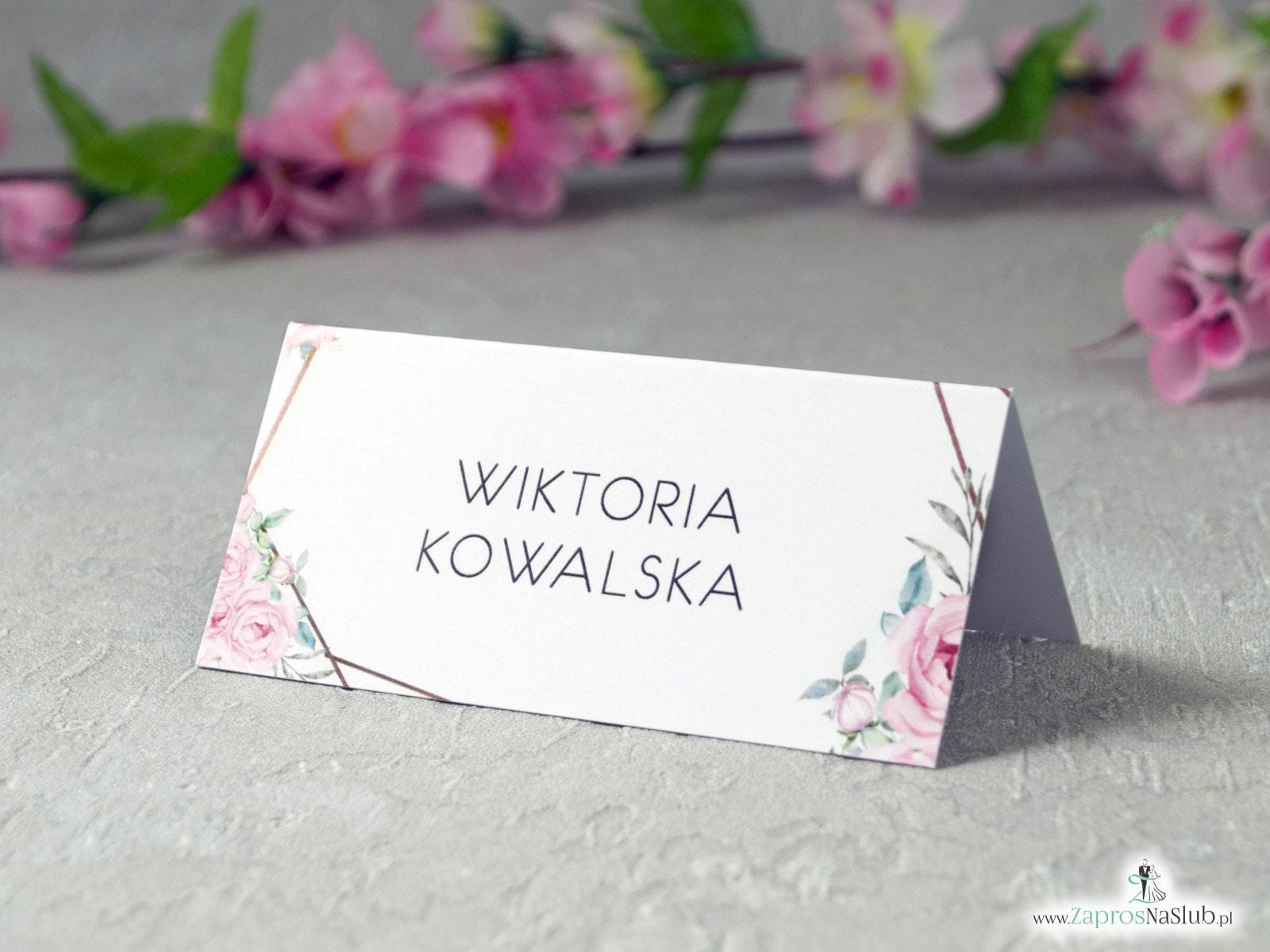 Winietki na stół z geometrycznymi liniami i różowymi kwiatami WIN-132