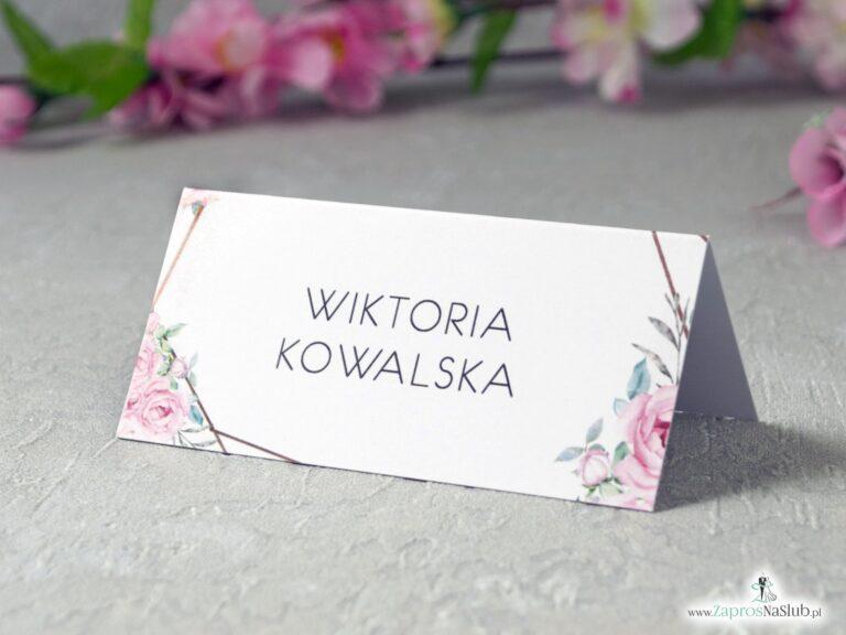 Winietki na stół z geometrycznymi liniami i różowymi kwiatami WIN-132 - ZaprosNaSlub