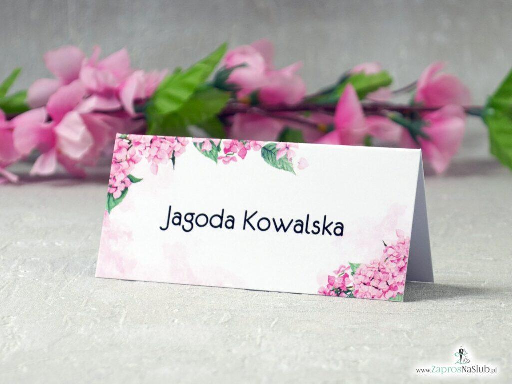 Winietki ślubne różowe hortensje WIN-41-25