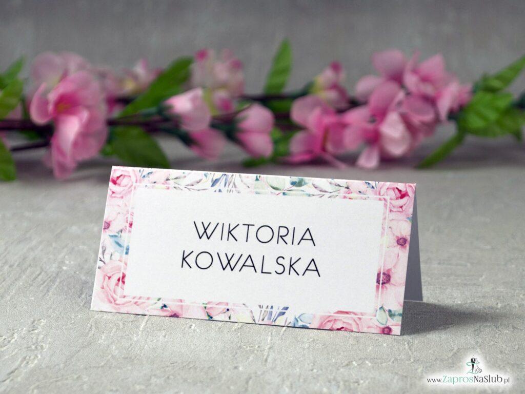 Winietki ślubne z kwiatami róż WIN-117
