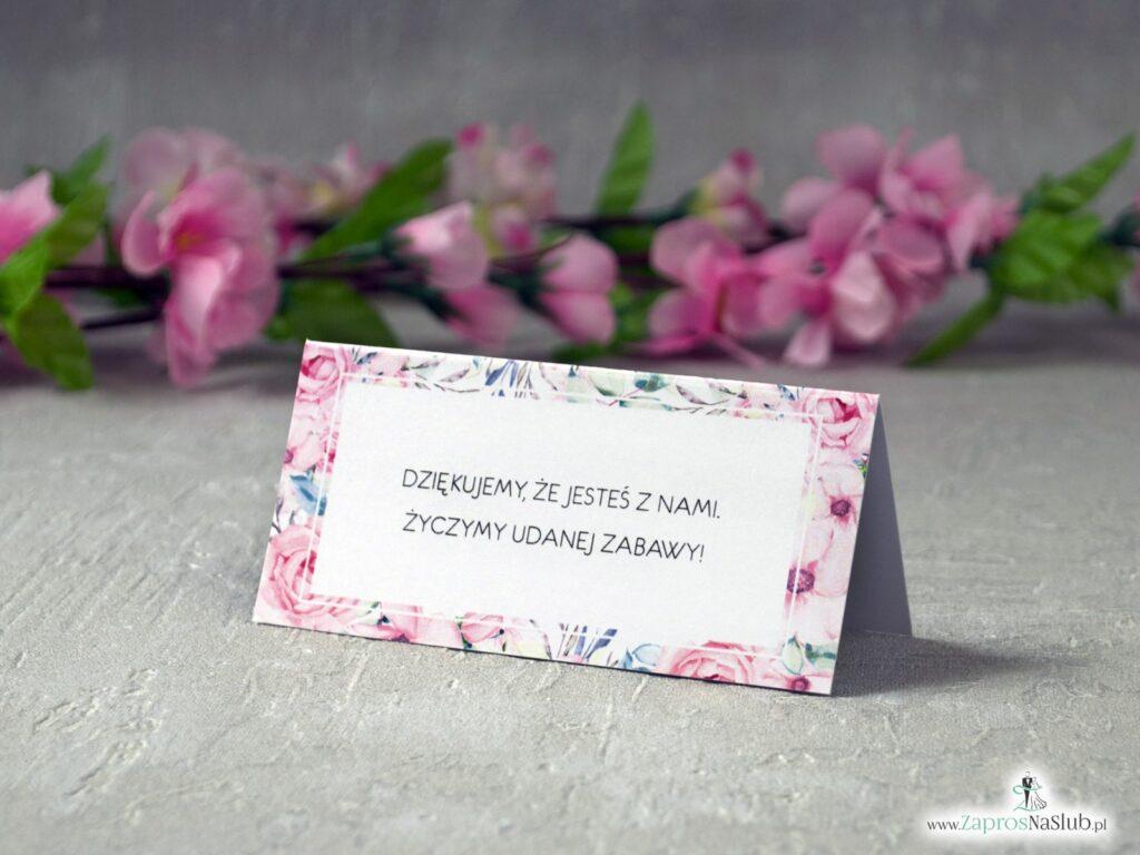 Winietki z kwiatową ramką z różowych róż WIN-117