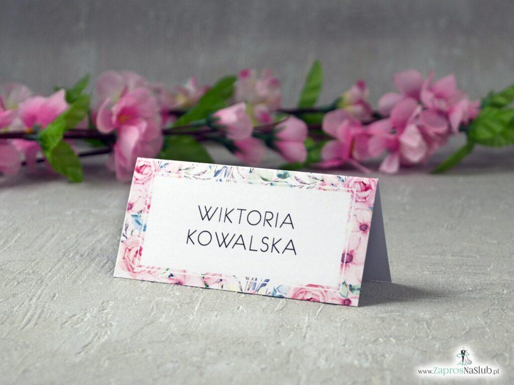 Winietki z różowymi kwiatami róż WIN-117
