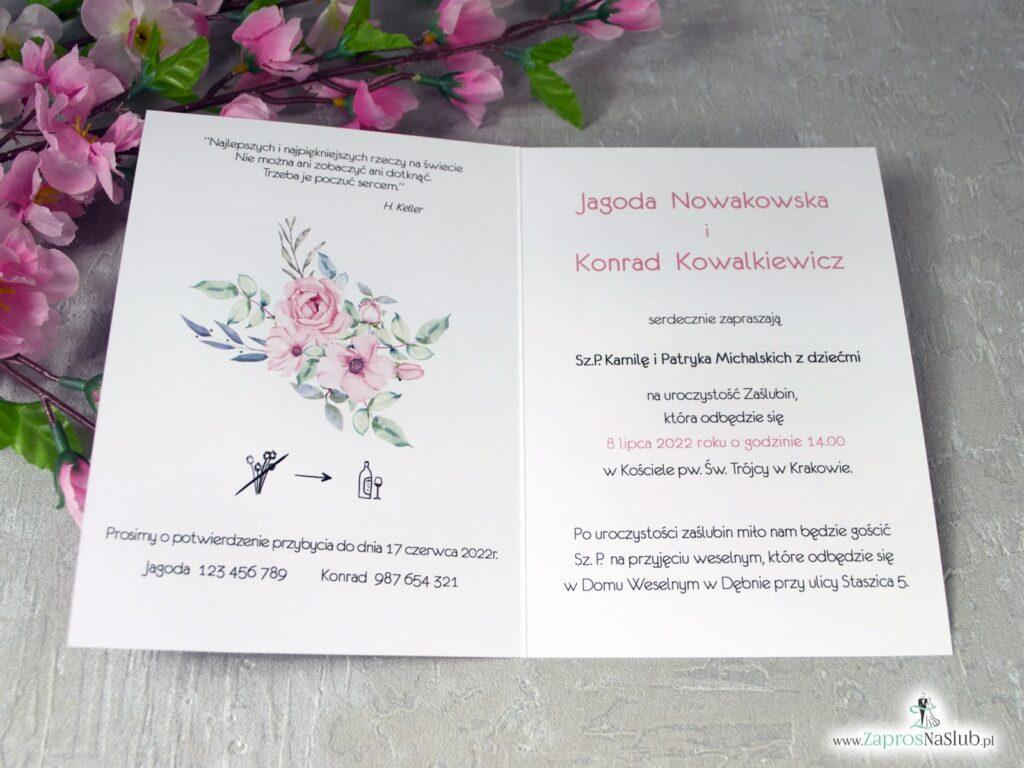 Zaproszenia na ślub z kwiatową ramką z róż ZAP-117