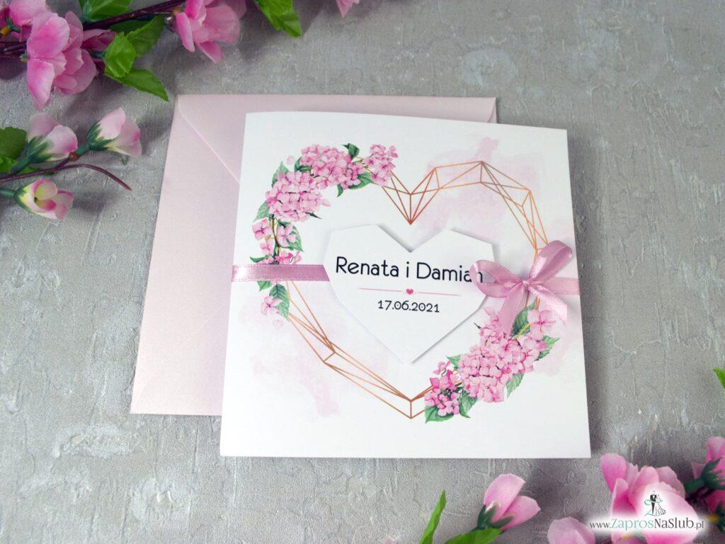 Zaproszenia ślubne różowe hortensje, geometryczne złote serce ZAP-41-25