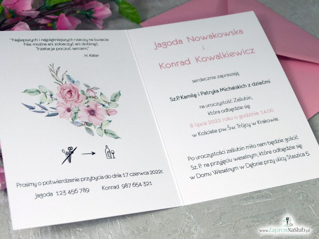 Zaproszenia ślubne, różowe róże w ramce kwiatowej ZAP-117