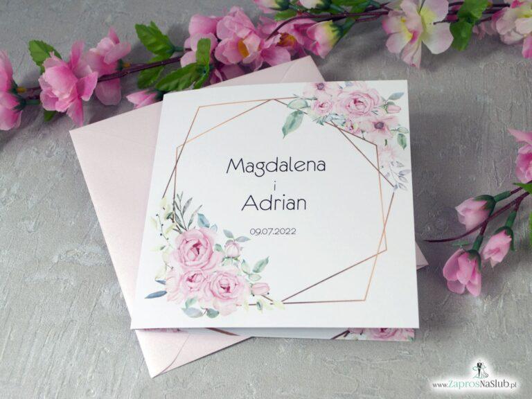 Zaproszenia ślubne z geometrycznymi liniami i różowymi kwiatami. ZAP-132 - ZaprosNaSlub