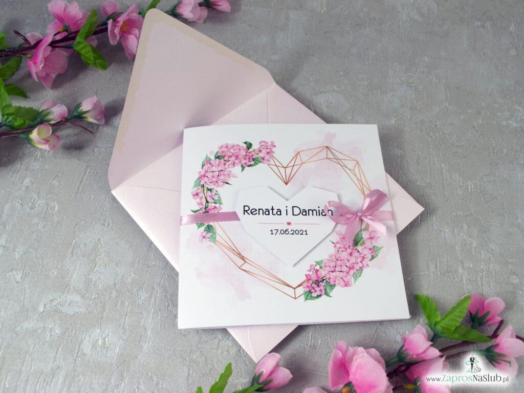 Zaproszenia ślubne z różowymi hortensjami ZAP-41-25
