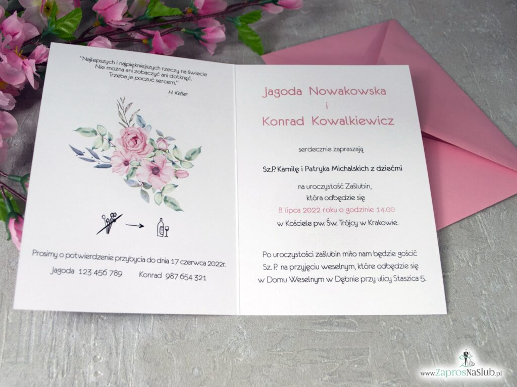 Zaproszenia ślubne z różówymi kwiatami róż ZAP-117
