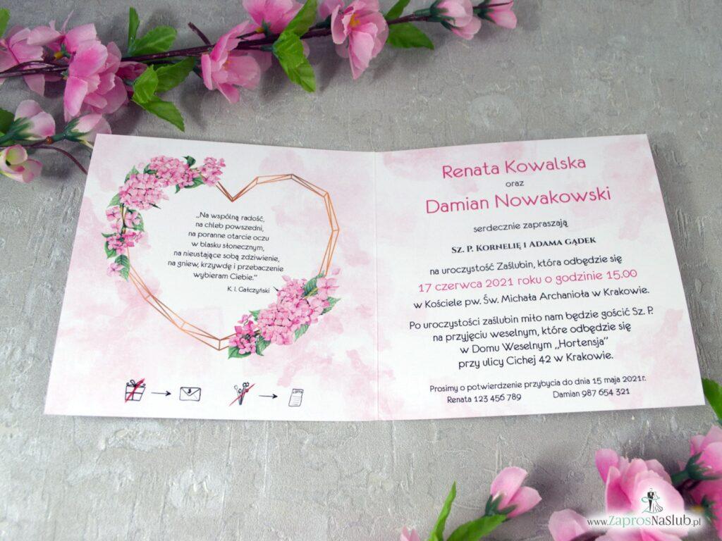 Zaproszenie na ślub geometryczne serce i różowe hortensje ZAP-41-25