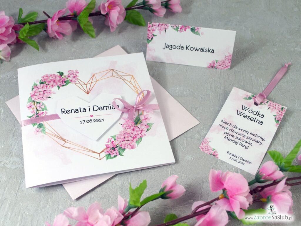 Zaproszenie na ślub, winietki, zawieszki na alkohol z różowymi kwiatami hortensji ZAP-41-25