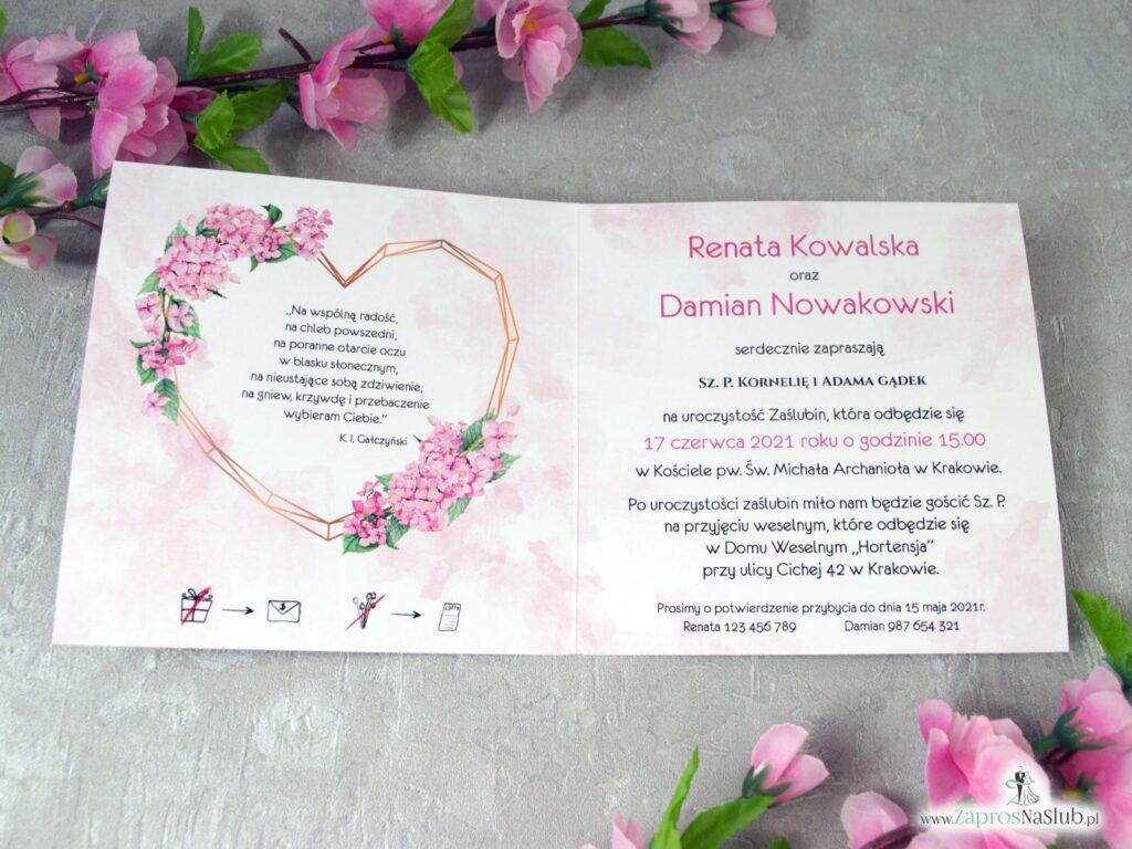 Zaproszenie na ślub z różowymi kwiatami hortensji oraz złotym sercem ZAP-41-25