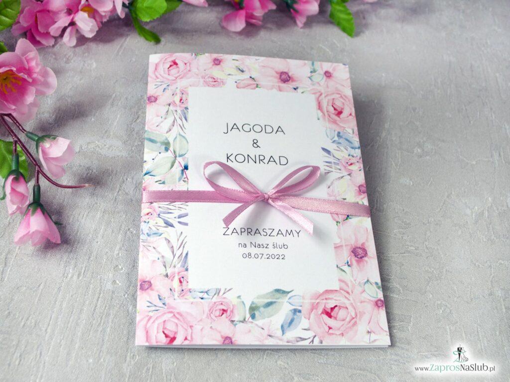 Zaproszenie ślubne z ramką z różowych róż ZAP-117