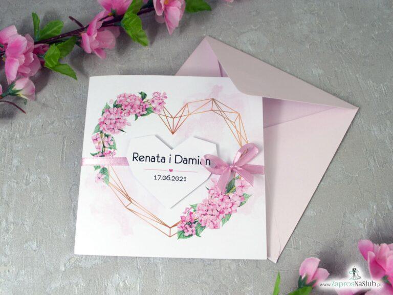 Zaproszenia na ślub z różowymi kwiatami hortensji i geometrycznym sercem ZAP-41-25