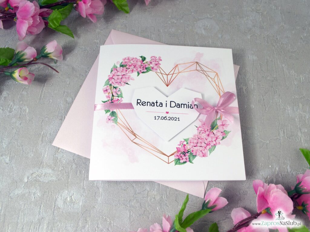 Zaproszenie na ślub z geometrycznym sercem i różowymi hortensjami ZAP-41-25