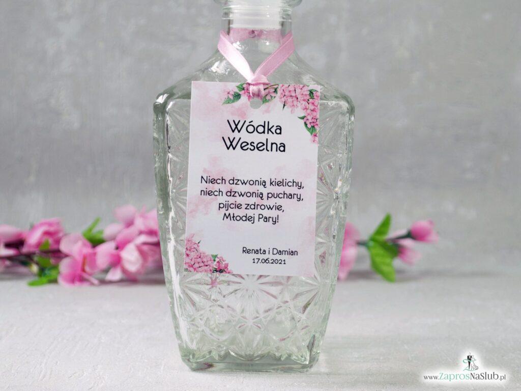 Zawieszka na wódkę weselną z różowymi kwiatami hortensji ZAW-41-25