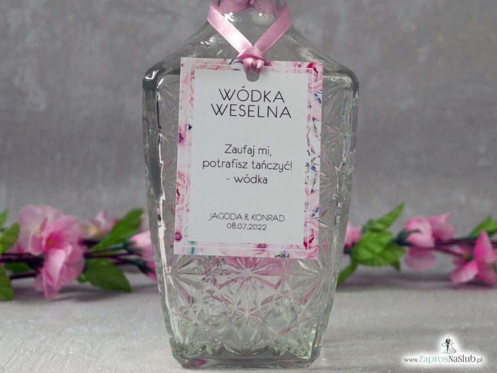 Zawieszka na wódkę z kwiatową ramką z różowych róż ZAW-117