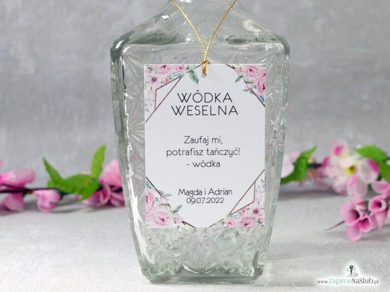Zawieszka na alkohol z geometrycznym wzorem i kwiatami ZAW-132 - ZaprosNaSlub