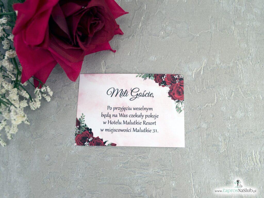 Bilecik z informacją do zaproszenia z czerwonymi różami BIL-41-09