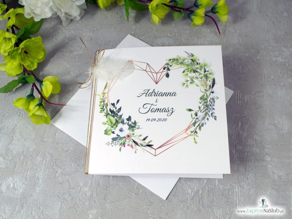Boho zaproszenia ślubne z piórkiem i geometrycznym sercem ZAP-41-26