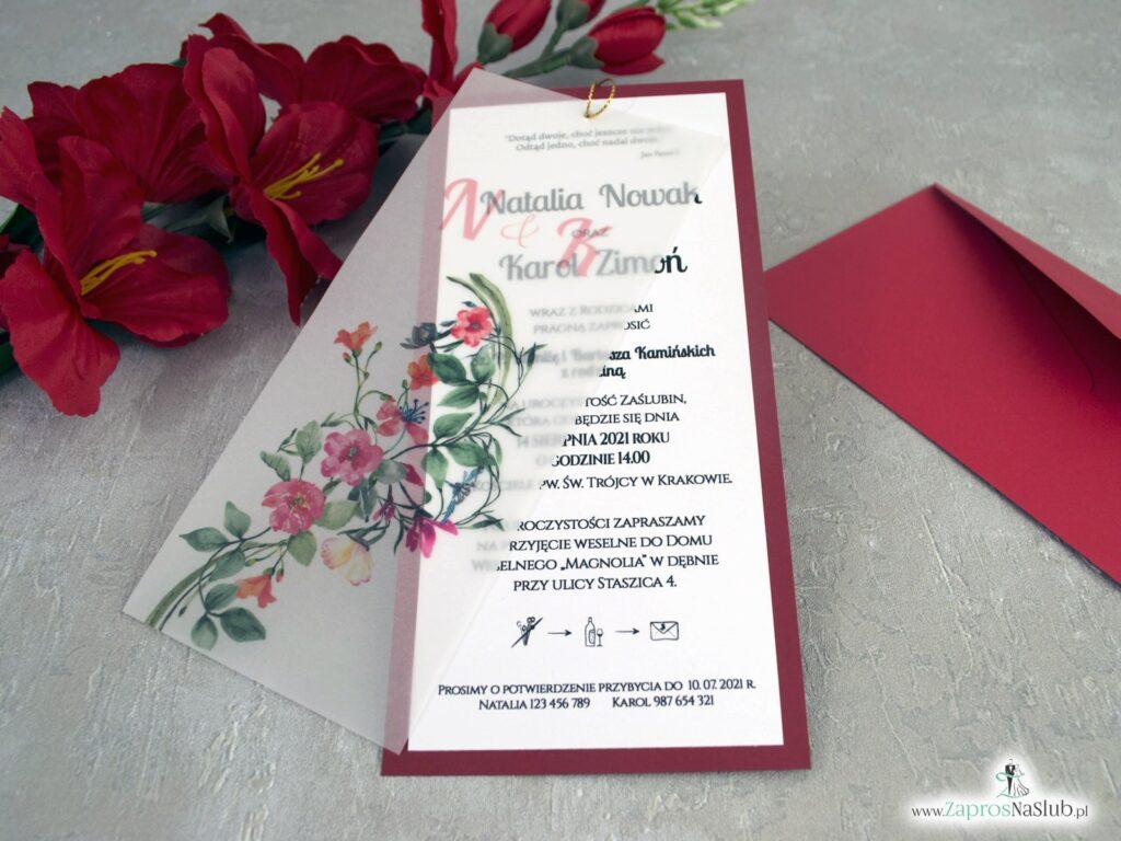 Czerwone zaproszenia ślubne z kalką i kwiatami ZAP-138-3