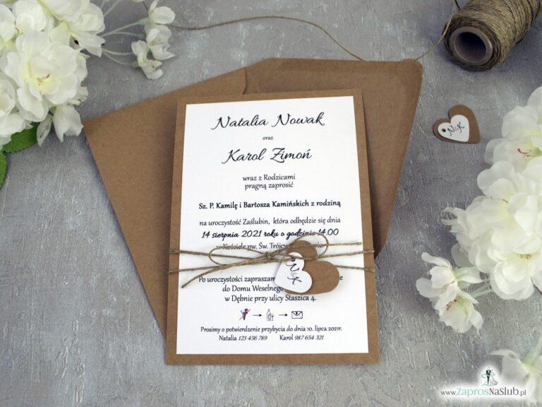 Ekologiczne zaproszenia ślubne, klasyczne eko ZAP-137