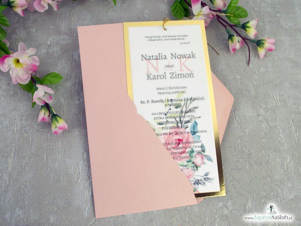 Eleganckie zaproszenia ślubne 2021 z kalką i złotym papierem z efektem lustra ZAP-138-2