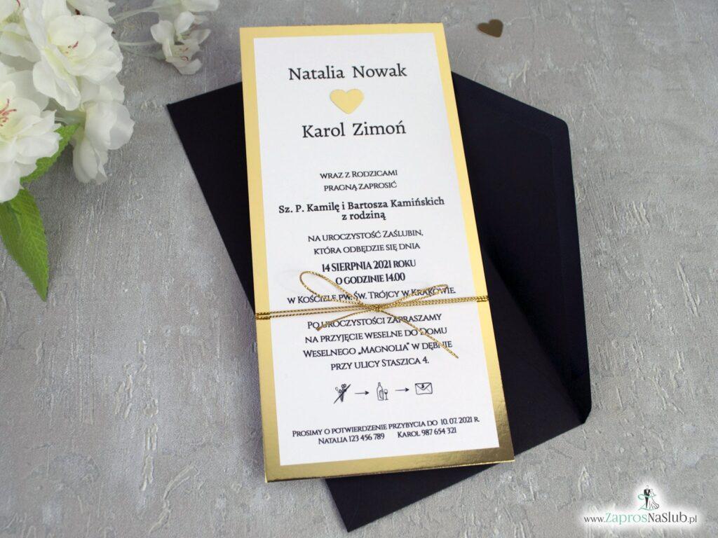 Eleganckie zaproszenia ślubne na złotym papierze z efektem lustra ZAP-139