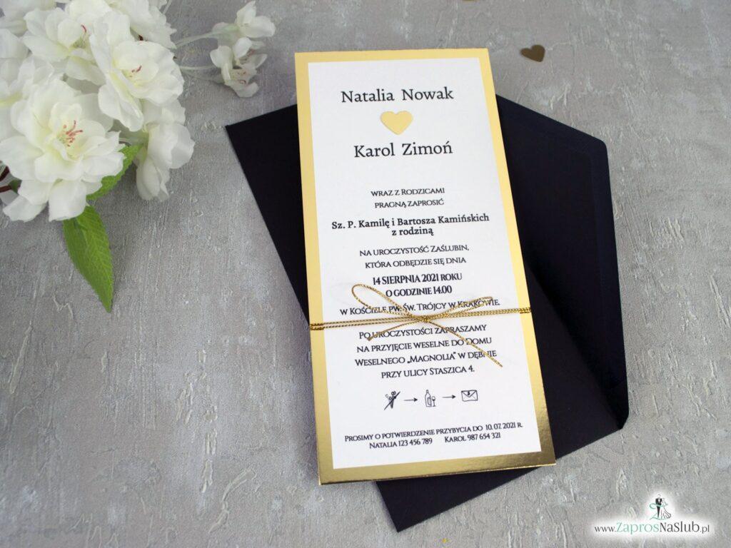 Eleganckie złote zaproszenia ślubne ZAP-139