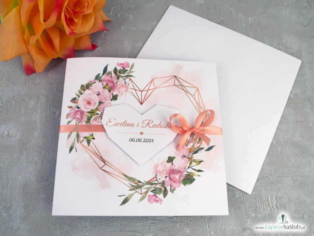 Geometryczne zaproszenia ślubne, pomarańczowe kwiaty i złote serce ZAP-41-10