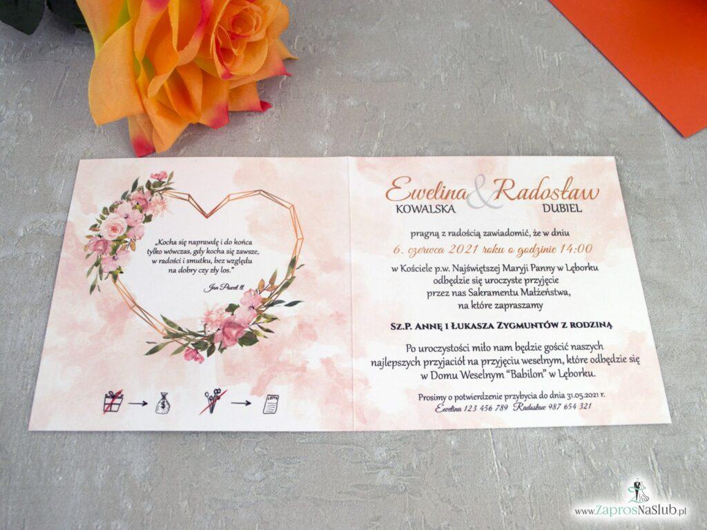 Geometryczne zaproszenia ślubne z pomarańczowymi kwiatami i złotym geometrycznym sercem ZAP-41-10