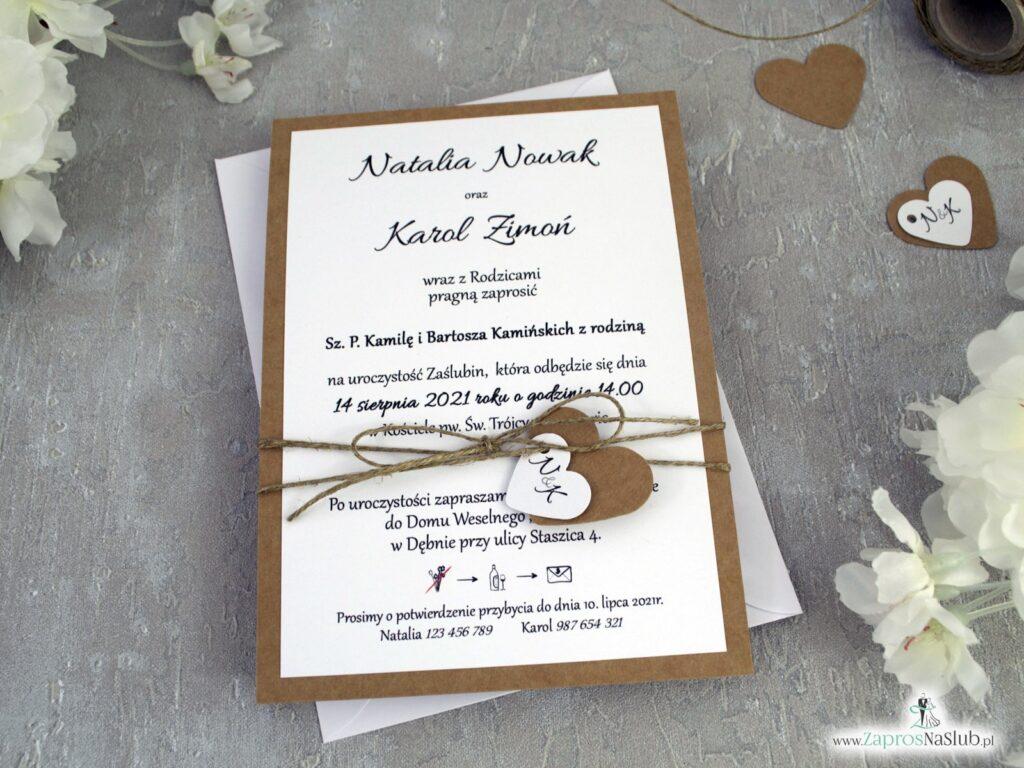 Klasyczne zaproszenie ślubne eko z małymi serduszkami ZAP-137