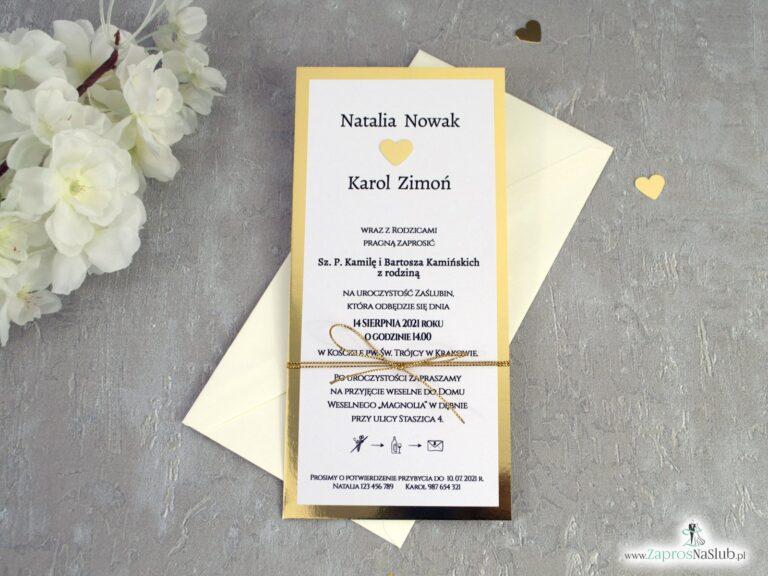 Minimalistyczne złote zaproszenia na ślub ZAP-139