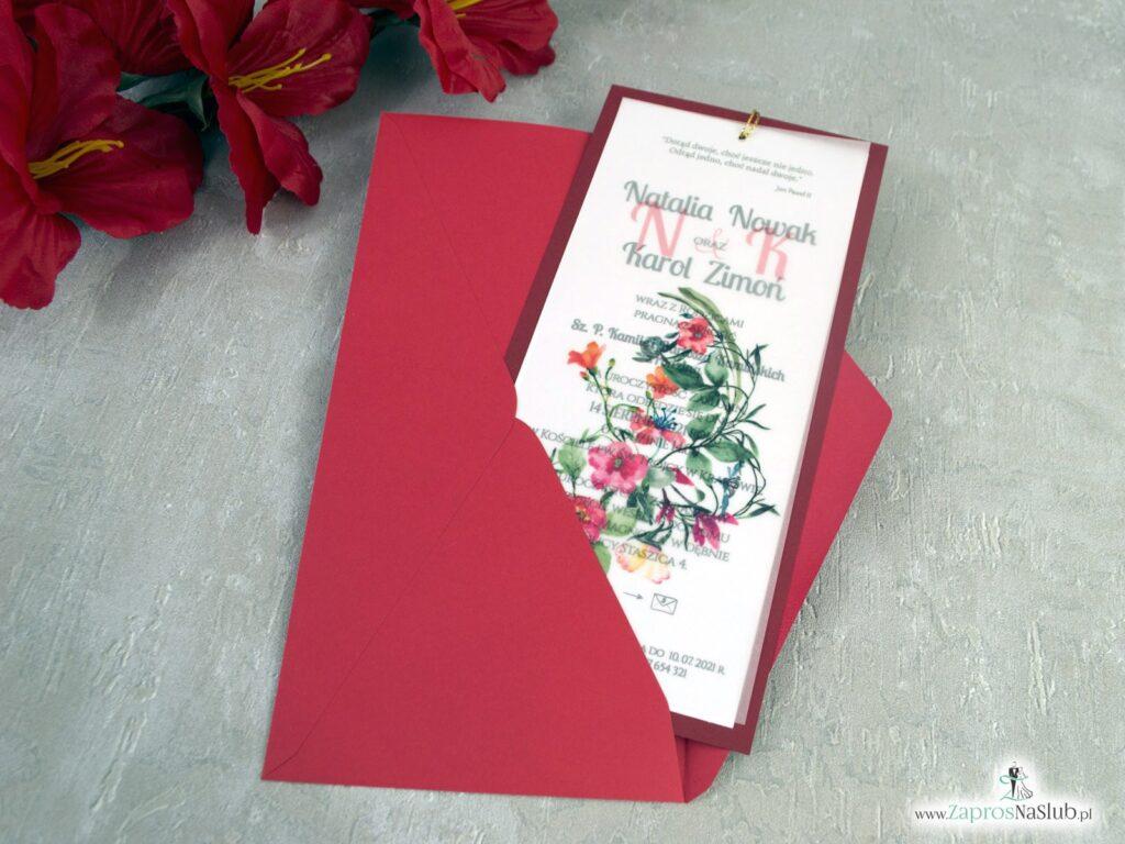 Modne bordowe zaproszenia ślubne z kalką i czerwonymi kwiatami ZAP-138-3